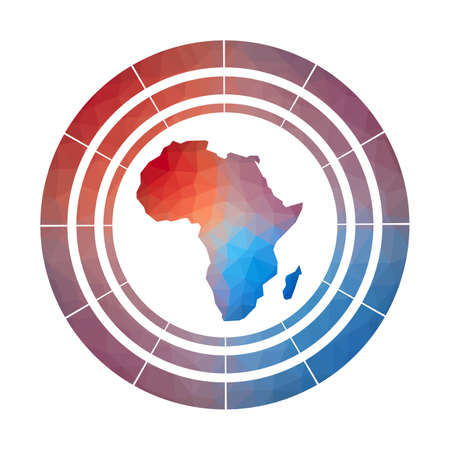 Africa badge. Bright gradient of continent in low poly style. Multicolored Africa rounded sign with map in geometric style for your infographics.