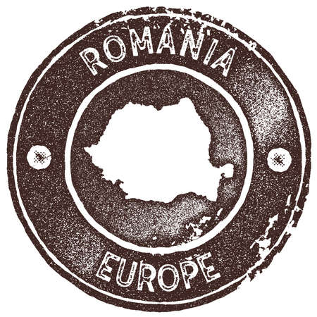 Romania map vintage stamp. Retro style handmade label, badge or element for travel souvenirs. Brown rubber stamp with country map silhouette. Vector illustration. Ilustração