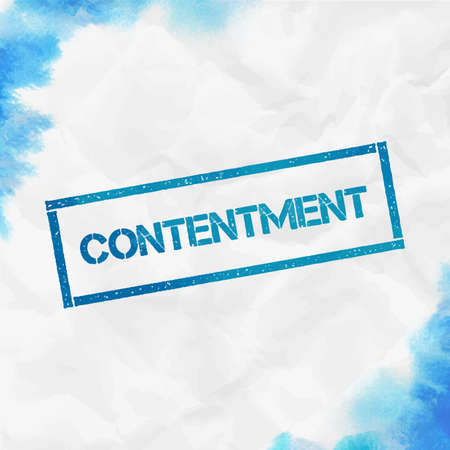 CONTENTMENT rectangular stamp. Textured turquoise seal with text, watercolor style. Vector illustration.