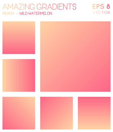 Colorful gradients in peach, wild watermelon color tones. Adorable gradient background, wondrous vector illustration.