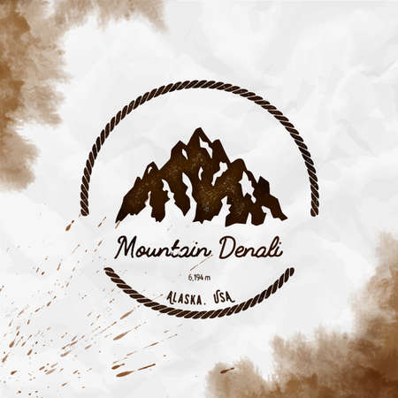 Mountain Denali Round hiking sepia vector insignia. Denali in Alaska, USA outdoor adventure illustration. Climbing, trekking, hiking, mountaineering and other extreme activities template.