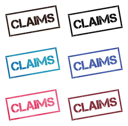 Claims rectangular stamp collection. Textured seals with text isolated on white backgound. Stamps in turquoise, red, blue, black and sepia colors. Colourful watercolor style vector illustration.