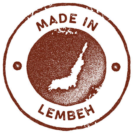 Lembeh map vintage stamp. Retro style handmade label, badge or element for travel souvenirs. Red rubber stamp with island map silhouette. Vector illustration.