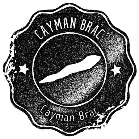 Cayman Brac map vintage stamp. Retro style handmade label, badge or element for travel souvenirs. Black rubber stamp with island map silhouette. Vector illustration.
