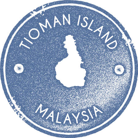 Tioman Island map vintage stamp. Retro style handmade label, badge or element for travel souvenirs. Light blue rubber stamp with island map silhouette. Vector illustration.
