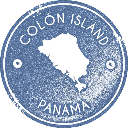 Colon Island map vintage stamp. Retro style handmade label, badge or element for travel souvenirs. Light blue rubber stamp with island map silhouette. Vector illustration.