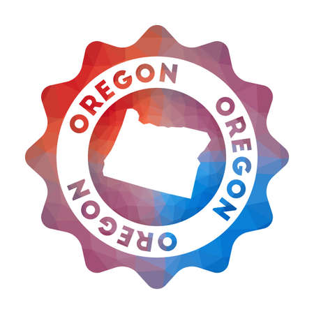 Oregon low poly  in geometric style. Multicolored polygonal Oregon rounded sign with map for your infographics.  イラスト・ベクター素材