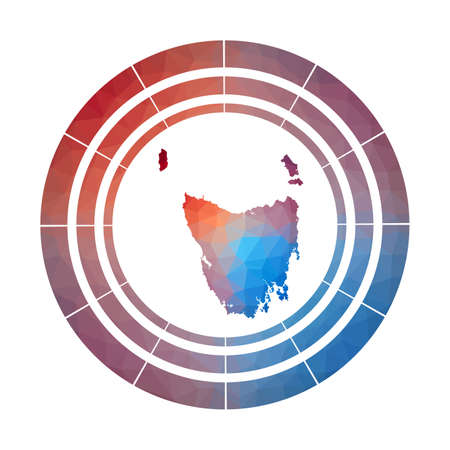 Tasmania badge. Bright gradient   of island in low poly style. Multicolored Tasmania rounded sign with map in geometric style for your infographics.