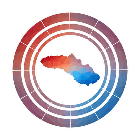 Sumba badge. Bright gradient  of island in low poly style. Multicolored Sumba rounded sign with map in geometric style for your infographics.