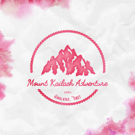 Kailash  Round hiking red vector insignia. Kailash in Himalayas, Tibet outdoor adventure illustration. Climbing, trekking, hiking, mountaineering and other extreme activities watercolor Illustration