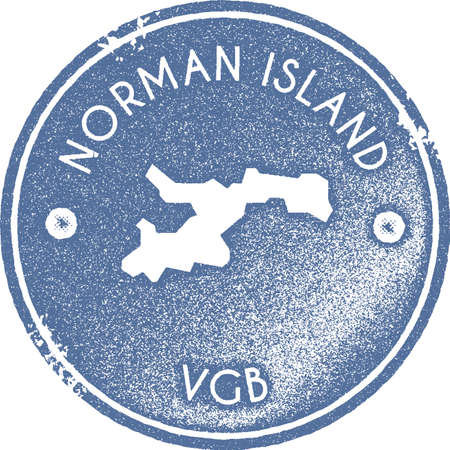 Norman Island map vintage stamp. Retro style handmade label, badge or element for travel souvenirs. Light blue rubber stamp with island map silhouette. Vector illustration.