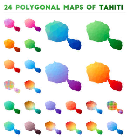 Set of vector polygonal maps of Tahiti. Bright gradient map of island in low poly style. Multicolored Tahiti map in geometric style for your infographics.  イラスト・ベクター素材