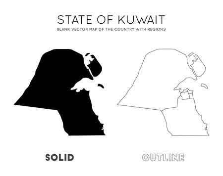 Carte du Koweït. Carte vectorielle vierge du pays avec les régions. Frontières du Koweït pour votre infographie. Illustration vectorielle. Vecteurs