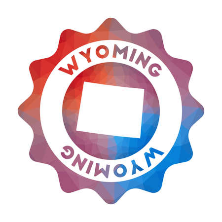 Wyoming low poly  of the us state in geometric style. Multicolored polygonal Wyoming rounded sign with map for your infographics.