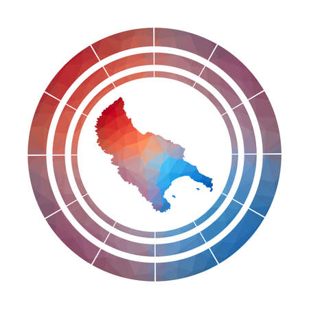 Zakynthos Island badge. Bright gradient  of island in low poly style. Multicolored Zakynthos Island rounded sign with map in geometric style for your infographics. Çizim