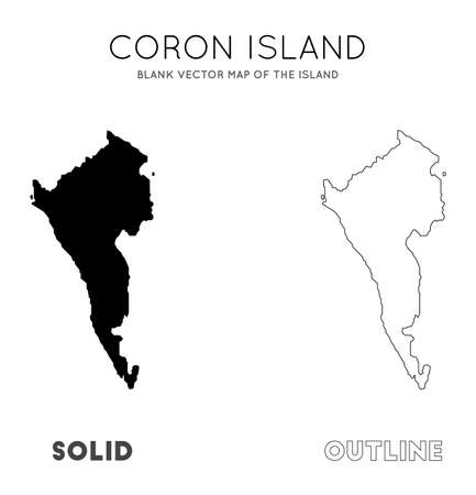 Coron Island map. Blank vector map of the Island. Borders of Coron Island for your infographic. Vector illustration.