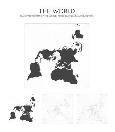Mapa del mundo. Proyección quincuncial de Peirce. Globo con líneas de latitud y longitud. Mapa del mundo sobre fondo de meridianos y paralelos. Ilustración vectorial. Ilustración de vector