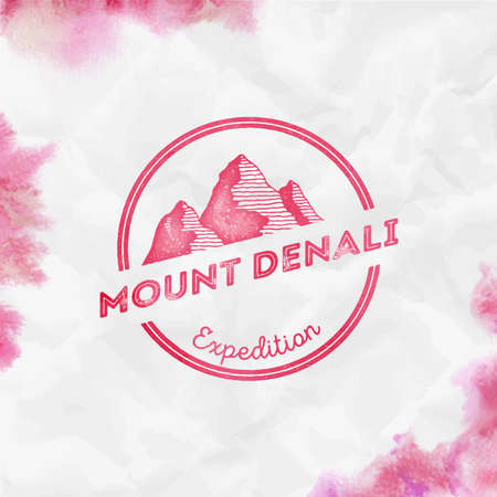 Denali  Round expedition red vector insignia. Denali in Alaska, USA outdoor adventure illustration. Climbing, trekking, hiking, mountaineering and other extreme activities   template.