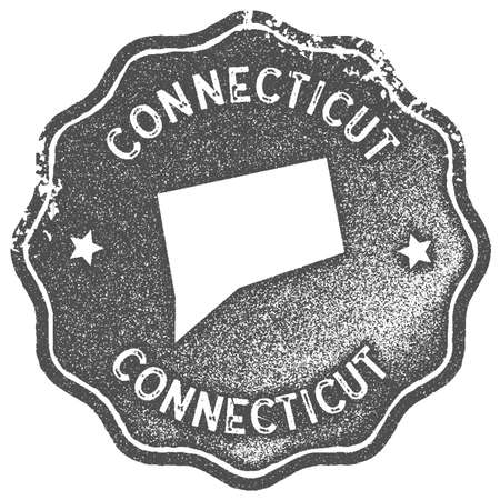 Connecticut map vintage stamp. Retro style handmade label, badge or element for travel souvenirs. Grey rubber stamp with us state map silhouette. Vector illustration.