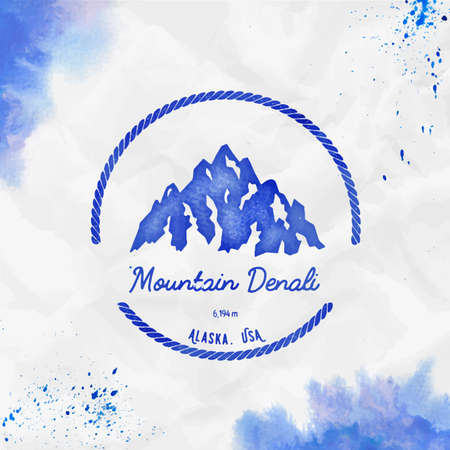 Mountain Denali  Round hiking blue vector insignia. Denali in Alaska, USA outdoor adventure illustration. Climbing, trekking, hiking, mountaineering and other extreme activities template.