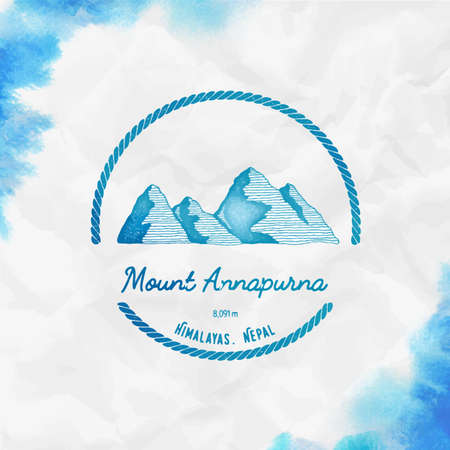 Mountain Annapurna  Round trekking turquoise vector insignia. Annapurna in Himalayas, Nepal outdoor adventure illustration.