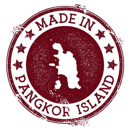 Made in Pangkor Island stamp. Grunge rubber stamp with Made in Pangkor Island text and island map. Sublime vector illustration.