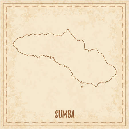 Pirate map of Sumba. Blank vector map of the Island. Vector illustration. Illustration