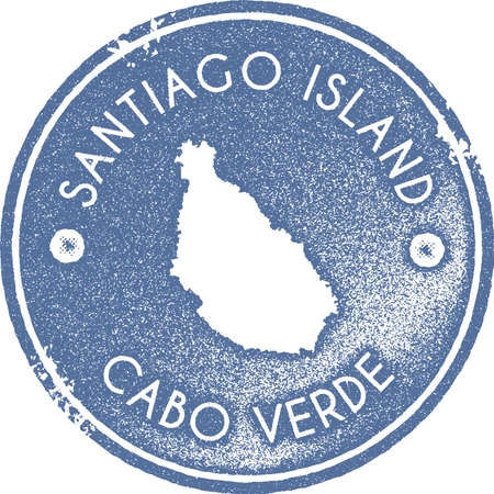 Santiago Island map vintage stamp. Retro style handmade label, badge or element for travel souvenirs. Light blue rubber stamp with island map silhouette. Vector illustration.