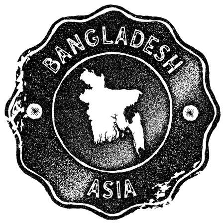 Bangladesh map vintage stamp. Retro style handmade label, badge or element for travel souvenirs. Black rubber stamp with country map silhouette. Vector illustration.
