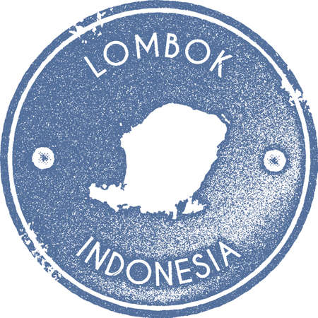 Lombok map vintage stamp. Retro style handmade label, badge or element for travel souvenirs. Light blue rubber stamp with island map silhouette. Vector illustration.