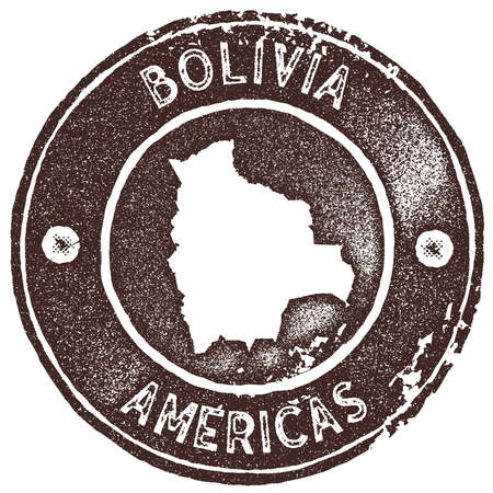 Bolivia map vintage stamp. Retro style handmade label, badge or element for travel souvenirs. Brown rubber stamp with country map silhouette. Vector illustration.
