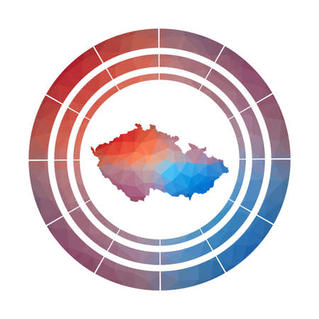 Czech Republic badge. Bright gradient  of country in low poly style. Multicolored Czech Republic rounded sign with map in geometric style for your infographics.
