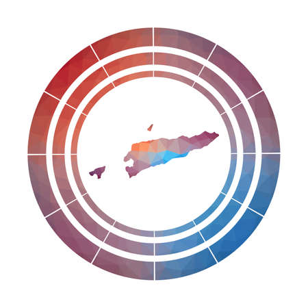 Timor-Leste badge. Bright gradient  of country in low poly style. Multicolored Timor-Leste rounded sign with map in geometric style for your infographics. 일러스트