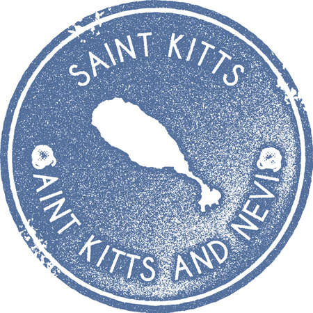 Saint Kitts map vintage stamp. Retro style handmade label, badge or element for travel souvenirs. Light blue rubber stamp with island map silhouette. Vector illustration.