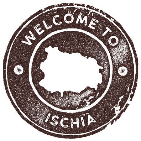 Ischia map vintage stamp. Retro style handmade label, badge or element for travel souvenirs. Brown rubber stamp with island map silhouette. Vector illustration.