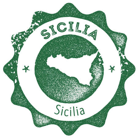Sicilia map vintage stamp. Retro style handmade label, badge or element for travel souvenirs. Dark green rubber stamp with island map silhouette. Vector illustration. 일러스트
