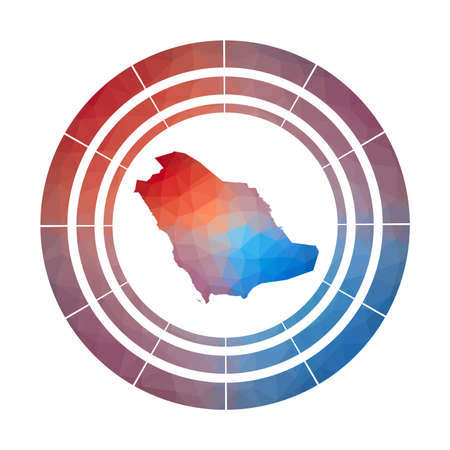 Saudi Arabia badge. Bright gradient  of country in low poly style. Multicolored Saudi Arabia rounded sign with map in geometric style for your infographics. 일러스트