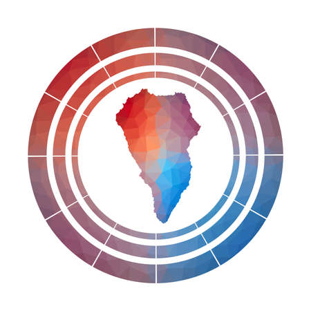 La Palma badge. Bright gradient of island in low poly style. Multicolored La Palma rounded sign with map in geometric style for your infographics.