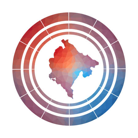 Montenegro badge. Bright gradient  of country in low poly style. Multicolored Montenegro rounded sign with map in geometric style for your infographics.