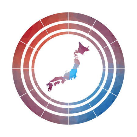 Japan badge. Bright gradient of country in low poly style. Multicolored Japan rounded sign with map in geometric style for your infographics.
