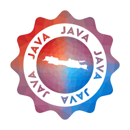 Java low poly  of the island in geometric style. Multicolored polygonal Java rounded sign with map for your infographics.