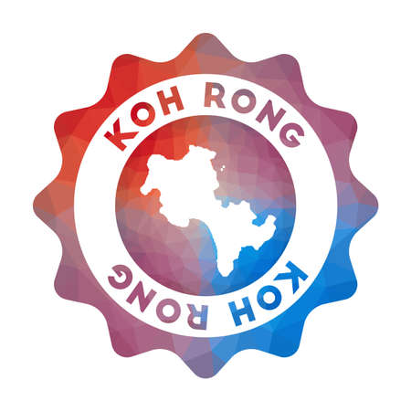 Koh Rong low poly  of the island in geometric style. Multicolored polygonal Koh Rong rounded sign with map for your infographics.  イラスト・ベクター素材