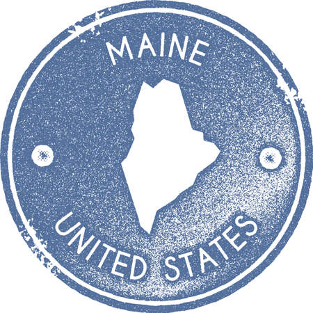 Maine map vintage stamp. Retro style handmade label, badge or element for travel souvenirs. Light blue rubber stamp with us state map silhouette. Vector illustration. 일러스트