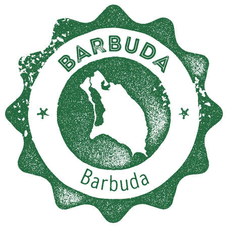 Barbuda map vintage stamp. Retro style handmade label, badge or element for travel souvenirs. Dark green rubber stamp with island map silhouette. Vector illustration.
