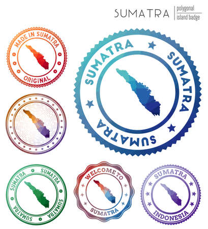 Sumatra badge. Colorful polygonal island symbol. Multicolored geometric Sumatra   set. Vector illustration.