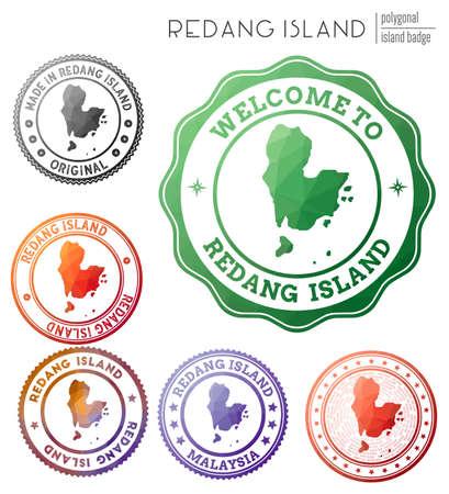 Redang Island badge. Colorful polygonal island symbol. Multicolored geometric Redang Island  set. Vector illustration.