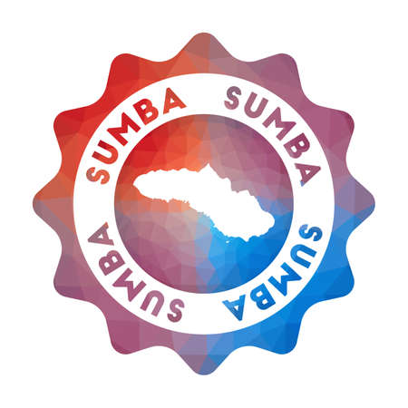 Sumba low poly   of the island in geometric style. Multicolored polygonal Sumba rounded sign with map for your infographics.