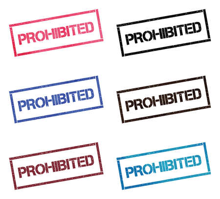 Prohibited rectangular stamp collection. Textured seals with text isolated on white backgound. Stamps in turquoise, red, blue, black and sepia colors. Colourful watercolor style vector illustration. Illustration