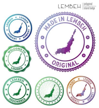 Lembeh badge. Colorful polygonal island symbol. Multicolored geometric Lembeh  set. Vector illustration.