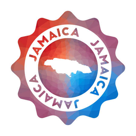 Jamaica low poly  of the country in geometric style. Multicolored polygonal Jamaica rounded sign with map for your infographics. Illustration